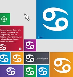 Zodiac cancer icon sign buttons modern interface vector