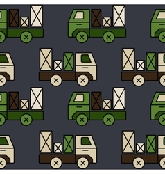 Seamless toy truck pattern with parcel vector
