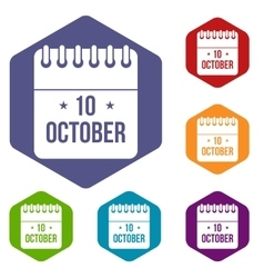 10 october calendar icons set vector