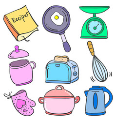Collection kitchen set colorful doodles vector