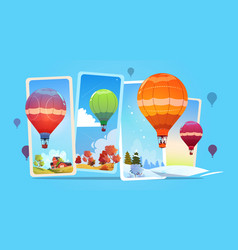 Colorful air balloons flying in sky over summer vector