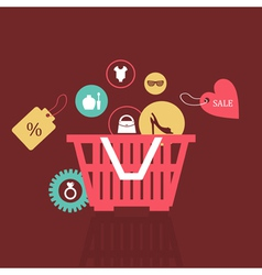 Basket of goods vector