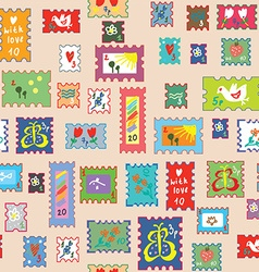 Seamless pattern with post stamps - funny childish vector