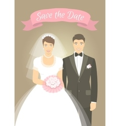 Wedding photo portrait of bride and groom vector