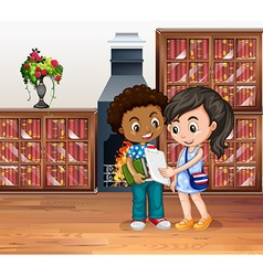Children working in the library vector