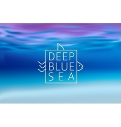 Water blurred background with line sign deep blue vector
