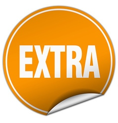 Extra round orange sticker isolated on white vector