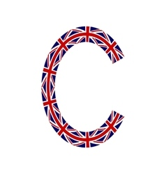 Letter c made from united kingdom flags vector