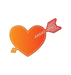 Arrow heart sign orange applique isolated vector