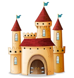 A castle with three blue flags vector image vector image