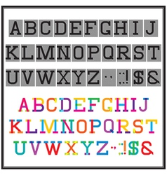 alphabet in the abstract and retro style vector image vector image