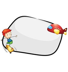 An empty template with an airplane and a young boy vector image vector image