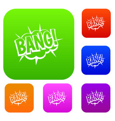 bang speech bubble explosion set color collection vector image vector image