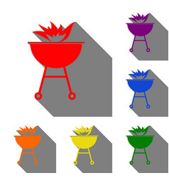 Barbecue with fire sign set of red orange vector