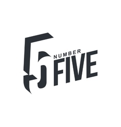 Black and white number five diagonal logo template vector