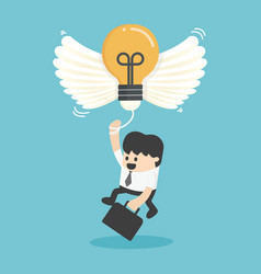 Businessman flying with new idea vector