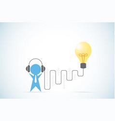Businessman with headphone and lightbulb idea vector