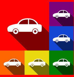 Car sign set of icons with vector