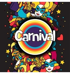 Carnival show background with doodle icons and vector image