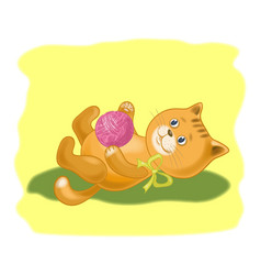 Cartoon cat with a ball of wool yarn vector