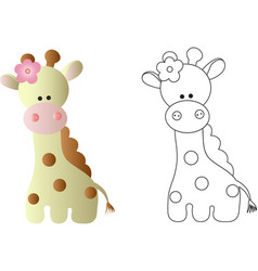 cartoon cute baby giraffe - in color and line art vector image