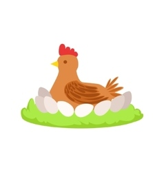 Chicken on nest cartoon farm related element on vector