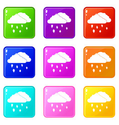 Clouds and hail icons 9 set vector