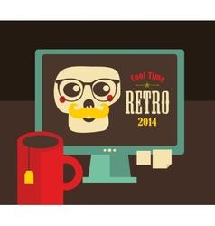 Computer screen in retro colors vector