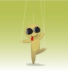 Concept of manipulating with fun cartoon doll vector image
