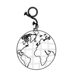 Contour planet earth hanging rope icon vector