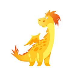 Cute yellow dragon vector