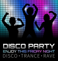 Disco poster with dancers vector image vector image