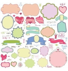 Doodle colored labelsbadgesdecor elementlove vector