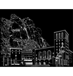 Drawing of Montserrat Monastery vector image vector image