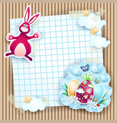 easter card with bunny and eggs on cardboard vector image