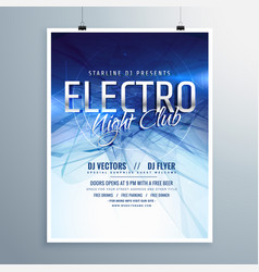 Electro night club party flyer poster template vector