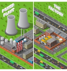 Factory plant industrial isometric vertical vector