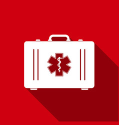 first aid box and star of life with long shadow vector image