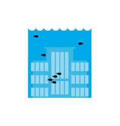 flooding building many of water architecture vector image