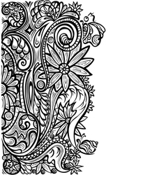 Floral pattern black white vector image