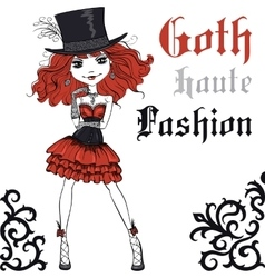 Goth girl in black dress and silk hat vector image