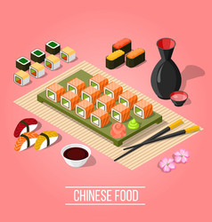 isometric sushi bar background vector image vector image