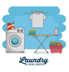 Laundry room with washing machine and clothes vector