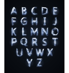 Low poly cristal alphabet font vector
