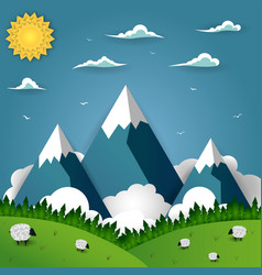Mountain landscape with sheep on field vector