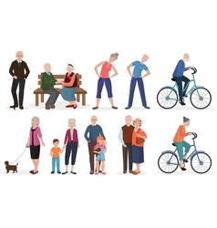 Old people in different activities situations vector image