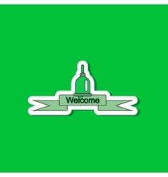 Paper sticker on stylish background school bell vector