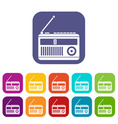 retro radio icons set vector image vector image