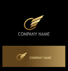 Round stripe wing gold logo vector