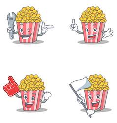 Set of popcorn character with mechanic foam finger vector